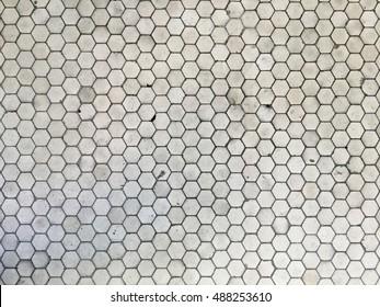 Hexagon tile floor on outdoor city landing