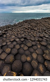 Hexagonal basalt structures at Giants Causeway on the Northern Ireland coast