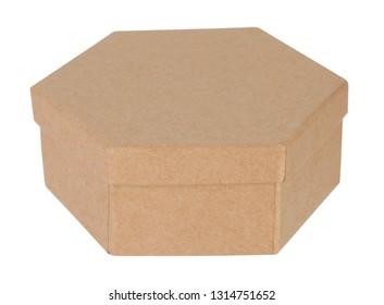 Hexagonal cardboard box closed container