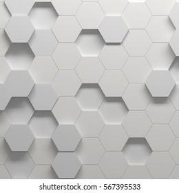 Hexagonal pattern, 3d illustration