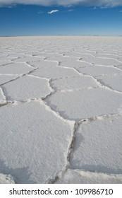 Hexagonal shapes, Salar de Uyuni salt flat, Bolivia, South America