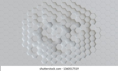 Hexagonal white background texture. 3d illustration, 3d rendering