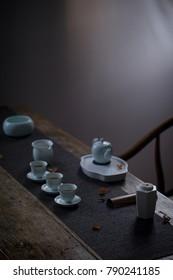 Hexagonal white ceramic tea box