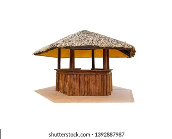 Hexagonal wooden hut is a beach bar on a white background and clipping path.