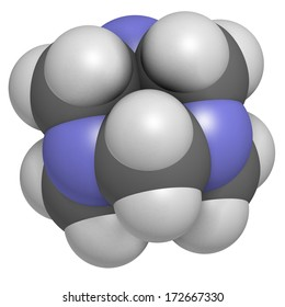 Hexamethylenetetramine (methenamine) molecule. Medically used to treat urinary tract infection. Used as food preservative (E239). Atoms are represented as spheres with conventional color coding
