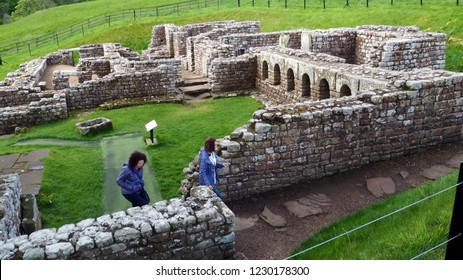 Hexham, Northumberland / England - May 13, 2018: The ruins of Chesters Roman Fort, one of a number of Roman outposts established to guard Hadrian's Wall near the Scottish border.