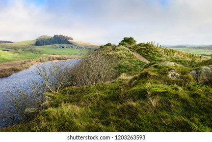 Hexham, Northumberland, UK. View from Peel Crags and Crag lough along Hadrian's Wall footpath on an autumn morning near Hexham, Northumberland, UK.