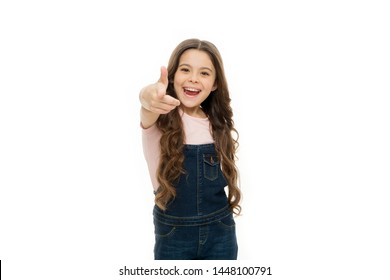 Hey you. Girl long hair cheerful pointing forward. Child pointing camera isolated white background. Kid pointing at you index finger. Communication concept. Happy childhood. Join my school club.