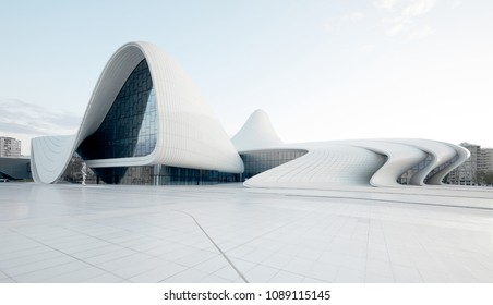 Heydar Aliyev Center. designed by Zaha Hadid. Center houses a conference hall, gallery and museum. Baku, Azerbaijan, 27.04.2017