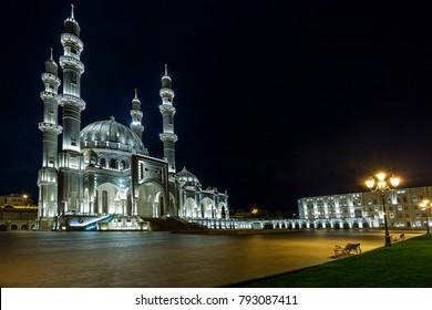 The Heydar Mosque in Baku, Azerbaijan at night
