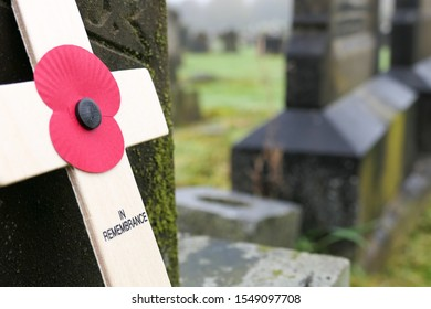 Heywood,Lancashire,great britain,November, 3rd, 2019 Remembrance day cross in cemetery in UK
