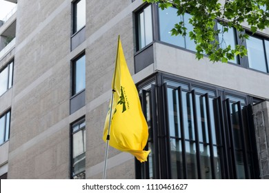 A Hezbollah flags is flown in London during the Al Quds Day rally, London, 10/06/18.