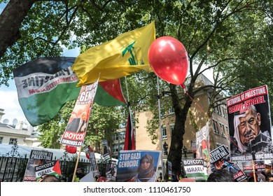 Hezbollah and Palestinian flags are flown in London during the Al Quds Day rally, London, 10/06/18.