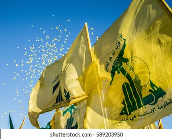 Hezbollah's flags and yellow balloons at Liberation Day (Bint Jbeil, 25 May 2014)