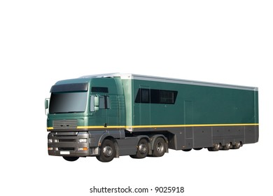 HGV truck and trailer isolated on a white background