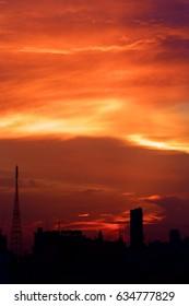 Hi contrast sunset at city of Bangkok with building.