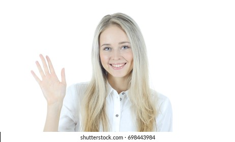 Hi, Hello,  Woman Waving Hand, Welcome , Portrait On White Background