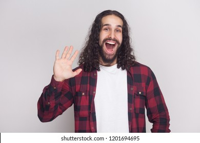 Hi, nice to see you. Happy surprised man with beard and black long curly hair in casual checkered red shirt standing looking at camera and greeting. indoor studio shot, isolated on grey background.