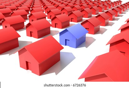 hi res rendering of blue and red houses model  on white background