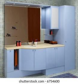 hi res rendering of blue wood modern bathroom furniture