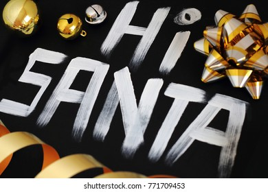 Hi santa on black background. New year is the first day of the year in the Gregorian calendar.