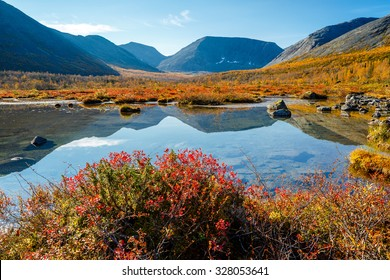 Hibiny mountains reflected in a shallow freshwater lake in the valley of Petrelius stream with colorful tundra bushes and taiga forest in foreground, Kola peninsula above the Arctic circle, Russia