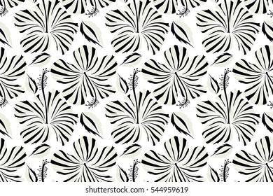 Hibiscus flowers seamless pattern on a white background in black and beige colors.