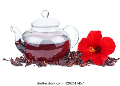 Hibiscus tea, flower and dry blossom isolated on white background