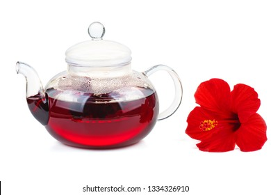 Hibiscus tea and flower isolated on white background