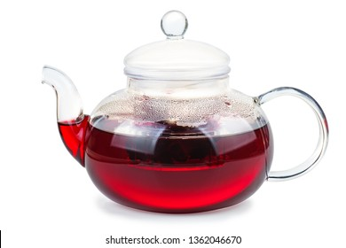 Hibiscus tea in glass teapot isolated on white background