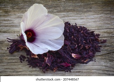 Hibiscus tea (H. sabdariffa) also known as Karkadè or Roselle. Flower and sepals dried for infusions