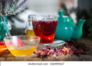 Hibiscus thea from rose carcade herbal tea with rose hips and kalina diuretic and cleansing stomach rejuvenating organism