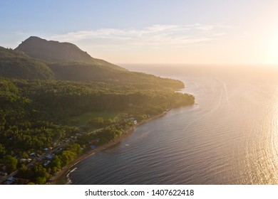 Hibok-Hibok Volcano on Camiguin Island in the morning. Tropical island with volcano, view from above.
