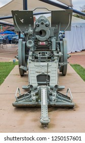 HICKORY, NC, USA-10/14/18: The operational end of a WWII captured German Howitzer cannon, on permanent display in downtown.
