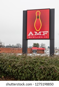 HICKORY, NC, USA-1/3/19: AMF Bowling Co. operates bowling centers and manufactures bowling equipment.