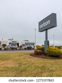 HICKORY, NC, USA-1/3/19: Verizon retail building and sign, selling telecommunications services and products.