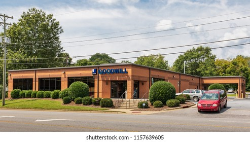 HICKORY, NC, USA-15 AUGUST 18:  A Goodwill Industries store, a non-profit chain of retail thrift stores, operating in 16 countries.