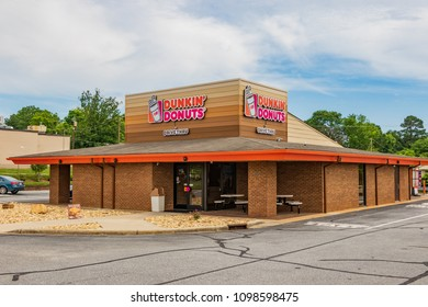 HICKORY, NC, USA-21 MAY 18: A Dunkin' Donuts shop, a worldwide  chain, in business since 1950.