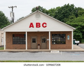 HICKORY, NC, USA-21 MAY 18: The state of North Carolina controls alcoholic beverages by allowing sales only through state owned stores, called ABC stores (Alcohol Beverage Control).