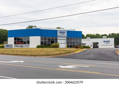 HICKORY, NC, USA-7 JULY 2021: Hendrick Pre-Owned and Collision Auto Center, a branch of Hendrick Automotive Group, a NC-based car dealership with 93 locations.
