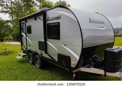HICKORY, NC, USA-9/23/18:  A 2018  silver and black Camplite trailer, built by Livin' Lite.