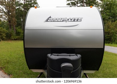 HICKORY, NC, USA-9/23/18:  The front nose of a  2018 silver and black Camplite trailer, built by Livin' Lite.