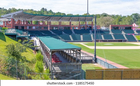 HICKORY, NORTH CAROLINA, USA- The Winkler Baseball Stadium, home of the Hickory Crawdads minor league baseball team, showing stadium seating, and covered boxes.