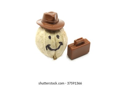 A hickory nut with a smiley face has a hat and briefcase as he goes to work.