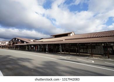 HIDA FURUKAWA, JAPAN - November 14, 2018: In front of Hida Furukawa train station in Hida furukawa city, Japan.