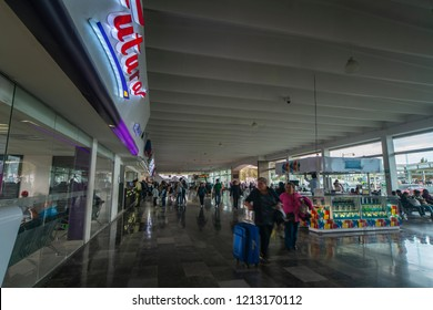 Hidalgo, Mexico - June 24, 2018: panoramic view of the iconic Pachuca bus terminal full of people buying their tickets