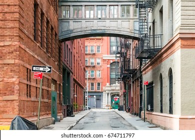 Hidden alley scene on Staple Street in the historic Tribeca area of Manhattan, New York City NYC
