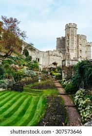 Hidden green garden inside Windsor Castle - England