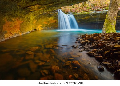 A hidden waterfall in the Ozark National Forest of Arkansas.