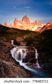 hidden waterfall in Pagatonia with Fitz Roy Mountain in the background